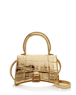 Balenciaga Hourglass Mini Embossed Leather Top Handle Bag