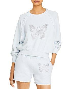 Vintage Havana - Rhinestone Butterfly Terry Sweatshirt