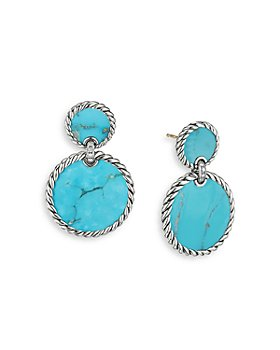 David Yurman - Sterling Silver DY Elements® Double Drop Earrings with Turquoise & Diamonds
