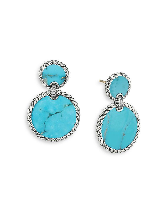 David Yurman - Sterling Silver DY Elements® Double Drop Earrings with Turquoise & Diamonds