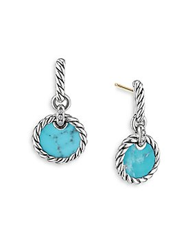 David Yurman - Sterling Silver DY Elements® Drop Earrings with Turquoise & Diamonds
