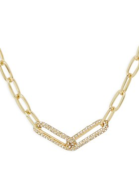 """AQUA - Pavé Chain Link Collar Necklace in Gold Tone, 18.5""""-21.5"""" - 100% Exclusive"""