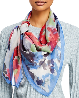 Brushed Floral Silk Square Scarf