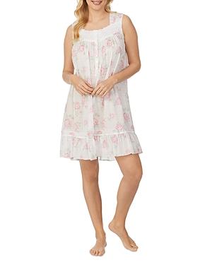 Floral Print Swiss Dot Lawn Short Nightgown