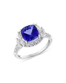 Bloomingdale's - Tanzanite & Diamond Halo Ring in 14K White Gold - 100% Exclusive