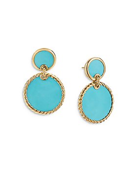 David Yurman - 18K Yellow Gold DY Elements® Double Drop Earrings with Turquoise