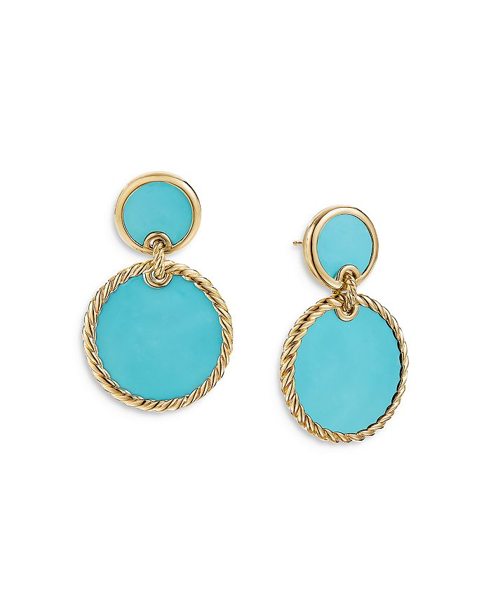 David Yurman - 18K Yellow Gold DY Elements® Double Drop Earrings with Turquoise