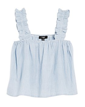 AQUA - Girls' Pinstripe Ruffle Strap Top - Big Kid