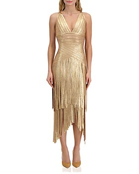 Hervé Léger - Deep V Layered Foil Fringe Bodycon Dress