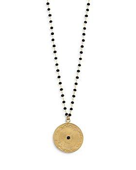 """Maison Irem - Dante Black Bead Coin Pendant Necklace, 17-19"""""""