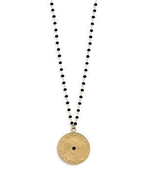 Dante Black Bead Coin Pendant Necklace