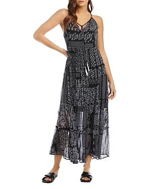 Semi Sheer Patch Print Maxi Dress