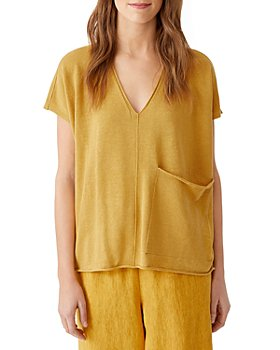 Eileen Fisher - Organic Linen & Organic Cotton V Neck Top