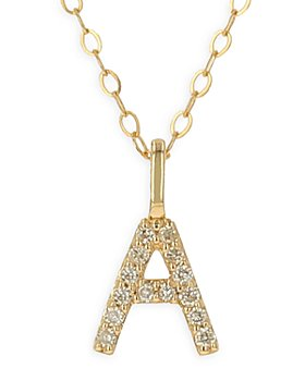 Moon & Meadow - 14K Yellow Gold Initial Pendant Necklace, 16-18""