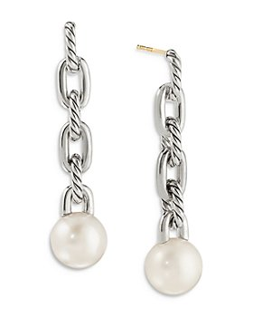 David Yurman - Sterling Silver DY Madison® Cultured Freshwater Pearl Chain Drop Earrings