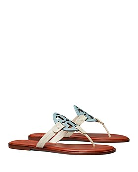 Tory Burch - Women's Miller T Monogram Folded Strap Leather Flip-Flops