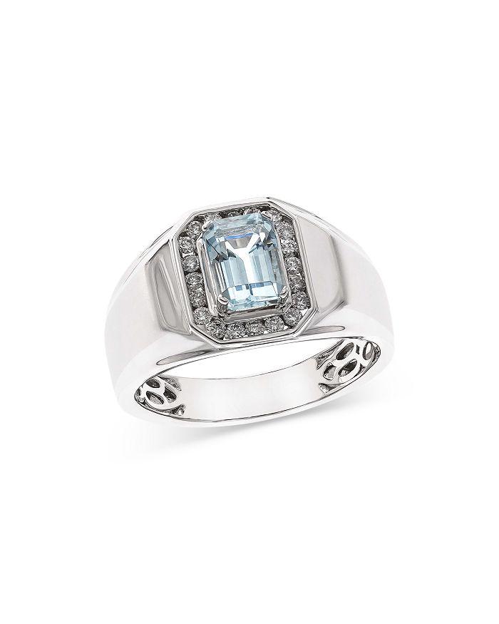 Bloomingdale's - Aquamarine & Diamond Men's Ring in 14K White Gold - 100% Exclusive