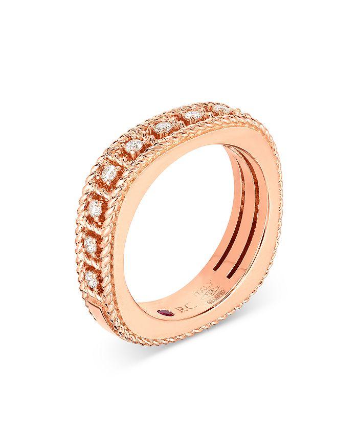 Roberto Coin - 18K Rose Gold Diamond Byzantine Ring