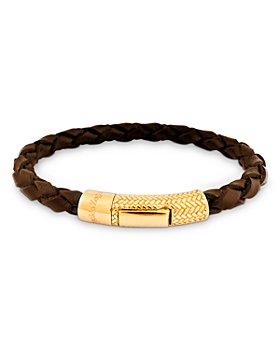 Zegna - Herringbone Click Leather Bracelet
