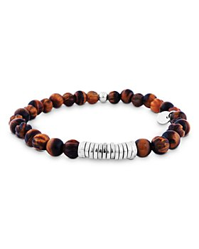 Tateossian - Brown Tiger Eye Beaded Bracelet with Sterling Silver Spacer Discs