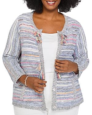 Nic+Zoe Plus Taffy Striped Tasseled Jacket