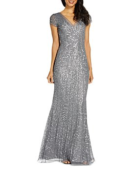 Adrianna Papell - Beaded V-Neck Mermaid Gown