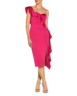 One-Shoulder Ruffled Satin Sheath Dress