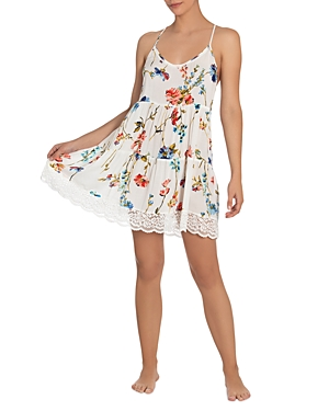 Floral Lace Trim Chemise Nightgown