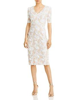 AQUA - Lace Appliqué Short Sleeve Dress - 100% Exclusive