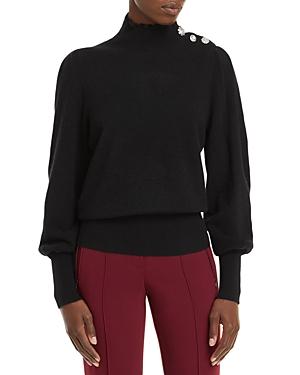 Embellished Mock Neck Cashmere Sweater