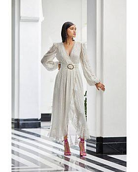 Rococo Sand - Belted Fil Coupé Long Wrap Dress