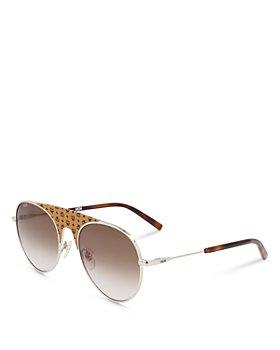 MCM - Unisex Visetos Leather Bridge Aviator Sunglasses, 55mm