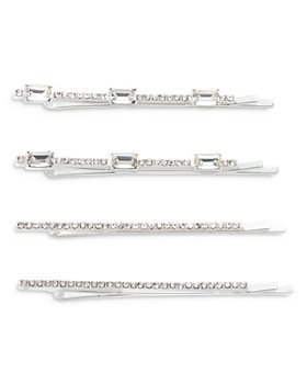 Ralph Lauren - Pavé Emerald Crystal Bobby Pins in Silver Tone, Set of 4