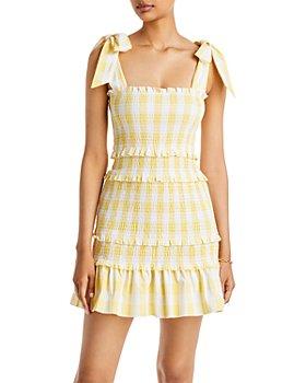 AQUA - Gingham Smocked Mini Dress - 100% Exclusive