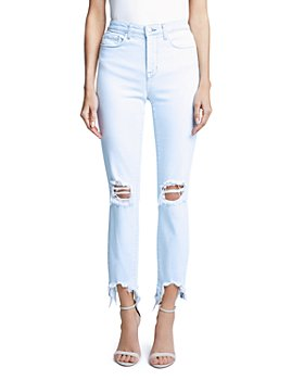 L'AGENCE - Ripped Straight Jeans in Fade Out