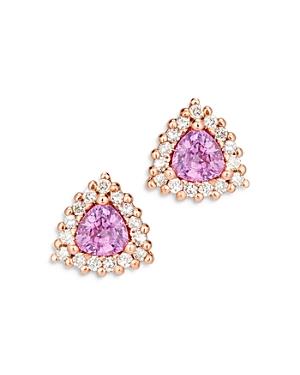 Bloomingdale's Pink Sapphire & Diamond Halo Stud Earrings in 14K Rose Gold - 100% Exclusive