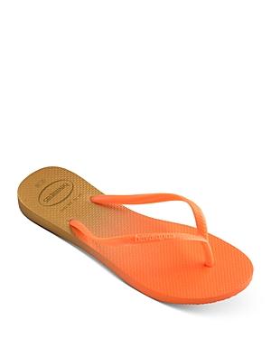 Women's Slim Gradient Slip On Thong Flip Flop Sandals