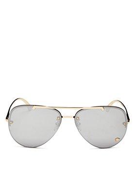 Versace - Unisex Brow Bar Aviator Sunglasses, 60mm