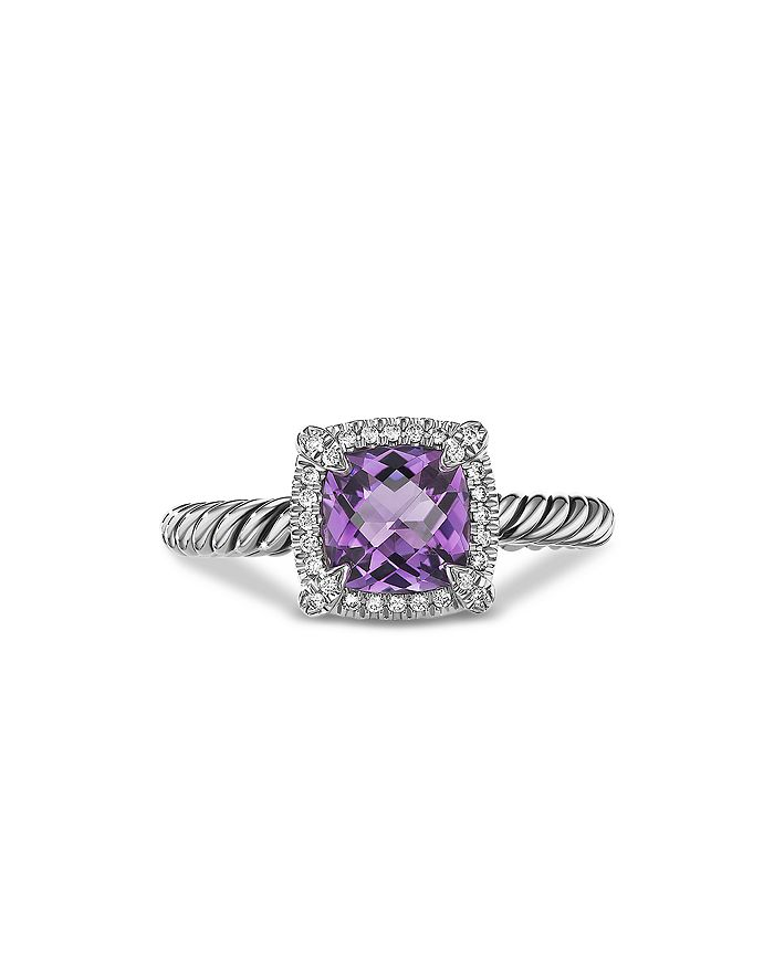 David Yurman - Sterling Silver Petite Chatelaine® Ring with Amethyst & Diamonds - 100% Exclusive