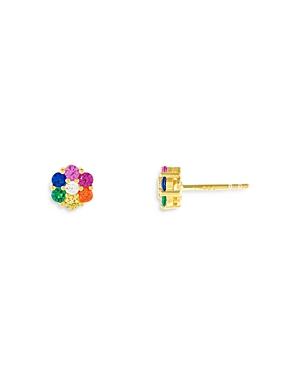 Adinas Jewels Cubic Zirconia Flower Stud Earrings