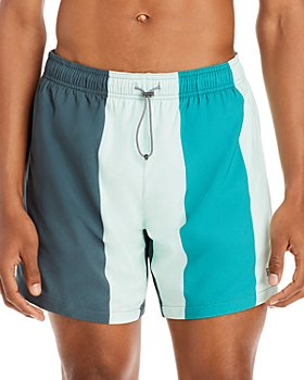BOSS - Carp Color Blocked Stripe Swim Trunks