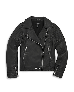 Aqua Girls' Faux Leather Moto Jacket, Big Kid - 100% Exclusive In Deep Iron