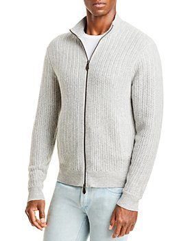 The Men's Store at Bloomingdale's - Wool & Cashmere Textured Full Zip Mock Neck Sweater - 100% Exclusive