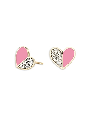 14K Yellow Gold Ceramic Folded Hearts Diamond & Pink Ceramic Stud Earrings