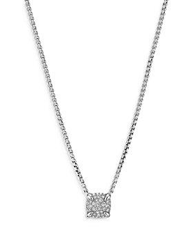 "David Yurman - Sterling Silver Petite Châtelaine® Diamond Pavé Pendant Necklace, 16-18"""