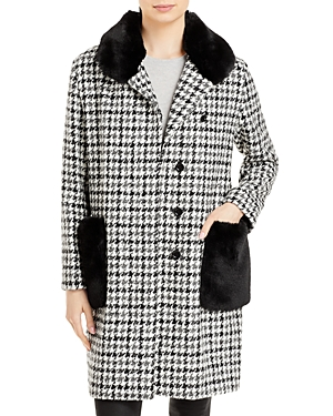 Houndstooth Faux Fur Trim Coat