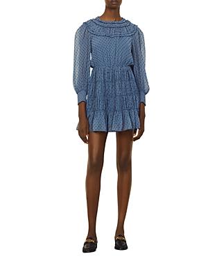 Sandro Gwen Ruffled Dot Print Dress