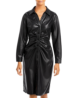 Rara Ruched Faux Leather Shirt Dress