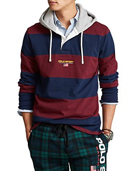 Polo Ralph Lauren - Polo Sport Cotton Blend Stripe Classic Fit Hooded Rugby Shirt