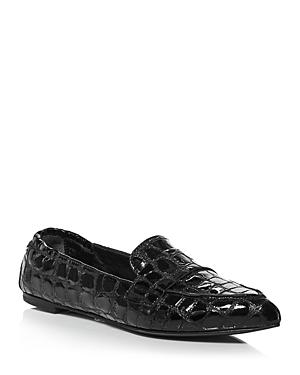 Women's Soft Moc Croc Embossed Leather Flats